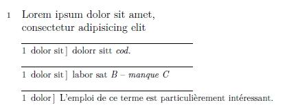 Exemple de résultat de Ledmac sur une mini-page